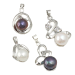 Freshwater Pearl Pendants with Cubic Zirconia   Zinc Alloy Flat Round natural mixed colors 7-8mm 20-32mm Hole:Approx 2-3mm 20Sets/Bag