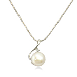 Freshwater Pearl Brass Necklace, with Brass, iron lobster clasp, Round, natural, white, 16x24mm, 12-13mm, Sold Per 17 Inch Strand