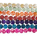 Naturalne koraliki z muszli z nadrukiem, Muszla, Moneta, mieszane kolory, 15x4mm, otwór:około 1.5mm, długość:14.5 cal, 10nici/torba, sprzedane przez torba