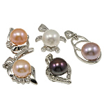 Freshwater Pearl Pendants with Brass Round natural mixed colors 10-11mm Hole:Approx 3-5mm 20PCs/Bag