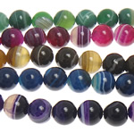 Natural Lace Agate Beads, Round, stripe, mixed colors, 14mm, Hole:Approx 1.5mm, Length:Approx 15 Inch, 5Strands/Lot, Sold By Lot