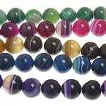 الطبيعية الخرز العقيق الرباط, الدانتيل العقيق, جولة, شريط, الألوان المختلطة, 14mm, حفرة:تقريبا 1.5mm, طول:تقريبا 15 بوصة, 5جدائل/الكثير, تباع بواسطة الكثير