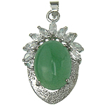 Natural Aventurine Pendants, Green Aventurine, with Glass & Zinc Alloy, Oval, 25x39x12mm, Hole:Approx 4x5.5mm, Sold By PC