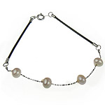 Freshwater Cultured Pearl Bracelet Freshwater Pearl with Leather iron spring ring clasp 7x6mm Sold Per 7.5 Inch Strand