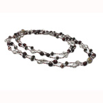 Crystal Freshwater Pearl Necklace, with Crystal, natural, Grade A, 9-10mm, Sold Per 47 Inch Strand