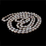 Natural Freshwater Pearl Necklace, Oval, purple, Grade AA, 7-8mm, Sold Per 47 Inch Strand