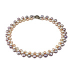 Natural Freshwater Pearl Necklace brass box clasp Round mixed colors 7-9mm Sold Per 17 mm Strand