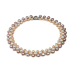 Natural Freshwater Pearl Necklace, brass box clasp, Round, mixed colors, 7-9mm, Sold Per 17 Inch Strand