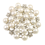 Freshwater Pearl Brooch, with Zinc Alloy, Flower, white, 7-8mm, 49x7mm, Sold By PC