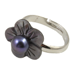 кольцо из ракушки, Ракушка, с Пресноводные жемчуги & Латунь, Форма цветка, Много цветов для выбора, 7-8mm, отверстие:Приблизительно 18mm, размер:7.5, продается PC