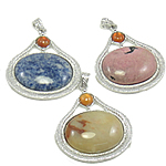 Mixed Gemstone Pendants, with Zinc Alloy, natural, 53x59x9mm, Hole:Approx 4.5x7.5mm, 30PCs/Bag, Sold By Bag
