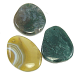 Agate Jewelry Pendants, Mixed Agate, mixed, 44-50mm, Hole:Approx 2.5mm, 30PCs/Bag, Sold By Bag