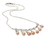 Freshwater Pearl Brass Necklace, with Rhinestone & Brass, Teardrop, natural, pink, 6-7mm, Sold Per 16.5 Inch Strand
