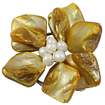 Shell Box Clasp, with Cultured Freshwater Nucleated Pearl & Brass, Flower, 3-strand, 48x20mm, Hole:Approx 1.5mm, Sold By PC