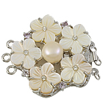 Shell Box Clasp, with Cultured Freshwater Nucleated Pearl & Brass, Flower, 3-strand & with rhinestone, 45x40x12mm, Hole:Approx 2.5mm, Sold By PC