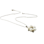 Freshwater Pearl Brass Necklace, with Rhinestone & Brass, Flat Round, natural, white, 8-9mm, 23x26x9mm, Sold Per 16.5 Inch Strand