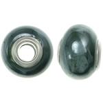Фарфоровые бусины Европейская стиль, фарфор, Круглая форма, плакирован серебром, латунные Двухместный ядро без Тролль, оливковый, 11-11.5x15-15.5mm, отверстие:Приблизительно 5mm, 200ПК/сумка, продается сумка