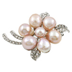 Freshwater Pearl Brooch, with Zinc Alloy, Flower, pink, 44x55mm, Sold By PC