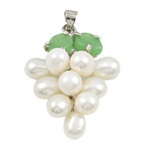 Freshwater Pearl Pendants with Brass   Zinc Alloy Grape natural white 13x35mm 6-7mm Hole:Approx 3x5mm