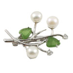 Freshwater Pearl Brooch, with Agate, Flower, white, 34x40mm, 8-9mm, Sold By PC