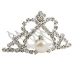 Decorative Hair Comb, crown shape, with rhinestone &amp; pearl on brass claw chain, exquisite style, 44x26mm, 7-8mm, Sold by PC