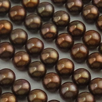 Half Drilled Cultured Freshwater Pearl Beads, Round, natural, half-drilled, coffee color, 6.5-7mm, Hole:Approx 0.5mm, 56Pairs/Lot, Sold By Lot