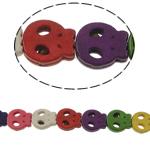 Turkusowe koraliki, Turkus syntetyczny, Czaszka, mieszane kolory, 13x15x4mm, otwór:około 1mm, około 27komputery/Strand, sprzedawane na około 15 cal Strand