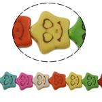Turkusowe koraliki, Turkus syntetyczny, Gwiazdka, mieszane kolory, 12x11x3mm, otwór:około 1mm, około 39komputery/Strand, sprzedawane na około 15 cal Strand