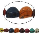 Turkusowe koraliki, Turkus syntetyczny, Czaszka, mieszane kolory, 13x12x10mm, otwór:około 1mm, około 30komputery/Strand, sprzedawane na około 15 cal Strand