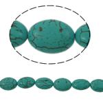 Turkusowe koraliki, Turkus syntetyczny, Owal, zielony, 13x18x7mm, otwór:około 1mm, około 22komputery/Strand, sprzedawane na około 15 cal Strand