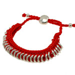 Friendship Bracelet, brass component with hand-knitted wax cord, red color wax cord, adjustable, 11mm, Sold per 6-Inch Strand