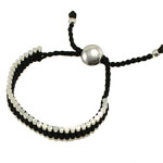 Friendship Bracelet, brass component with hand-knitted wax cord, black color wax cord, adjustable, 13mm, Sold per 6-Inch Strand