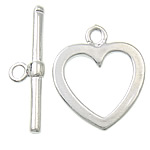 Brass Toggle Clasp, Heart, platinum color plated, single-strand, nickel, lead & cadmium free, 21.8x2mm, 15.3x18x1.5mm, Hole:Approx 2, 1.8mm, 200Sets/Lot, Sold By Lot