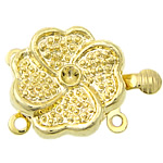Zinc Alloy Box Clasp, Flower, gold color plated, 2-strand, nickel, lead & cadmium free, 15.50x15.50x6.50mm, Hole:Approx 1.2mm, 100PCs/Bag, Sold By Bag