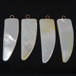 Natural White Shell Pendants, white, 11-12x32-34x4-5mm, Hole:Approx 2mm, 20PCs/Bag, Sold By Bag