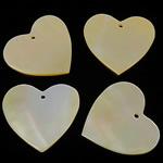 Wisiory z naturalnej żółtej muszli, Muszla żółta, Serce, żółty, 20x19x1.5-2mm, otwór:około 1mm, 100komputery/torba, sprzedane przez torba