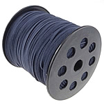 Velveteen Cord, with plastic spool, double-sided, dark blue, 3x1.50mm, Length:100 Yard, Sold By PC