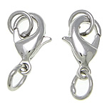 Brass Lobster Clasp, platinum color plated, nickel, lead & cadmium free, 6x12x3mm, 5x5x0.6mm, 500PCs/Bag, Sold By Bag