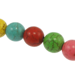 Turquoise Beads, Round, mixed colors, 8mm, Hole:Approx 1mm, Approx 48PCs/Strand, Sold Per Approx 15 Inch Strand