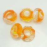 Кристальные бусины Европейская стиль, Кристалл миллефиори, Круглая форма, без Тролль, оранжевый, 14x7mm, отверстие:Приблизительно 6mm, 50ПК/Strand, Продан через 14 дюймовый Strand