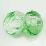Кристальные бусины Европейская стиль, Кристалл миллефиори, Круглая форма, без Тролль, зеленый, 14x7mm, отверстие:Приблизительно 6mm, 50ПК/Strand, Продан через 14 дюймовый Strand