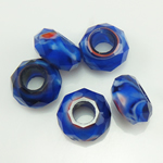 European kristalli helmiä, Millefiori Crystal, Rondelli, ilman peikko, sininen, 14x7mm, Reikä:N. 6mm, 50PC/Strand, Myyty Per 14 tuuma Strand