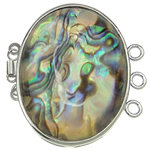 Shell Box Clasp, Abalone Shell, with Brass, Oval, 3-strand, 41x38x10mm, Hole:Approx 2.5mm, Sold By PC