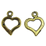 Metal Alloy Pendant, Heart, antique gold color plated, 13x16.50x2mm, Hole:Approx 1.5mm, 3KG/Lot, Sold By Lot