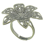 Brass Filigree Ring Base Flower antique bronze color plated adjustable nickel lead   cadmium free 30x30mm 3mm Hole:Approx 16-18mm US Ring Size:6.5 100PCs/Bag