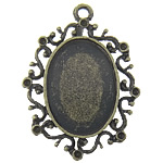 Zinc Alloy Pendant Cabochon Setting, Flat Oval, antique bronze color plated, nickel, lead & cadmium free, 42x31x0.8mm, Hole:Approx 2.8mm, Inner Diameter:Approx 25.3x18.5mm, 50PCs/Bag, Sold By Bag