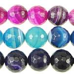 الطبيعية الخرز العقيق الرباط, الدانتيل العقيق, جولة, الأوجه, الألوان المختلطة, 14mm, حفرة:تقريبا 1.5-2mm, طول:تقريبا 15.5 بوصة, 6جدائل/الكثير, تباع بواسطة الكثير
