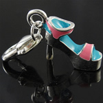 Zinc Alloy Lobster Clasp Charm, Shoes, enamel, nickel, lead & cadmium free, 9x33x12mm, Hole:Approx 5x4mm, 10PCs/Bag, Sold By Bag