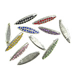 Metal Alloy Cabochon, Horse Eye, platinum color plated, with rhinestone, mixed colors, 27x7.70x2.80mm, 3KG/Lot, Sold By Lot