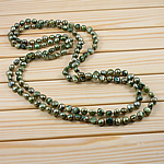 Natural Freshwater Pearl Necklace, Nuggets, green, 9-11mm, Sold Per 62 Inch Strand
